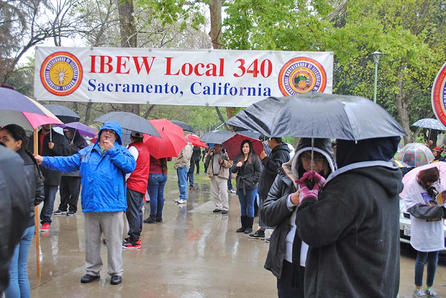 Members from IBEW Local 340 came out to show solidarity during the March event.